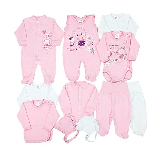 11-tlg. Set Baby Erstausstattung Bekleidung: Strampler Wickelshirts Schlafanzug Wickelbodys Strampelhose Mütze, Farbe: Rosa Kätzchen, Größe: 56