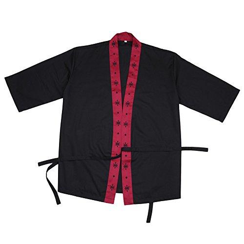 aihometm High-End japanischen Stil, Chef Jacke Uniformen für Sushi Shop Kellner Kellnerin Arbeitskleidung Overalls für japanische Küche Restaurant (schwarz, rot, weiß, dunkelblau), schwarz, L (Küchenchef Uniform)