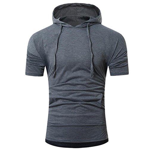 ASHOP Abbigliamento Uomo, T Shirt Uomo Manica Corta, T-Shirt da Uomo Manica Corta da Uomo Estiva con Cappuccio e Pullover Grigio scuro