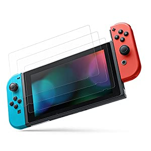 MoKo Nintendo Switch Screen Folie – [3 Stück] HD Displayschutzfolie Glas Displayschutz Display Schutzfolie Glasfolie Screen Protector für Gaming Nintendo Switch 2017, Klar