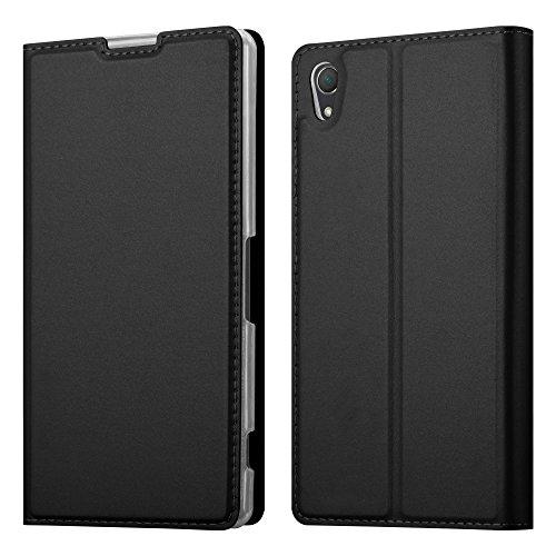 Cadorabo Hülle für Sony Xperia Z2 - Hülle in SCHWARZ – Handyhülle mit Standfunktion und Kartenfach im Metallic Look - Case Cover Schutzhülle Etui Tasche Book Klapp Style