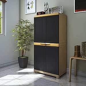 Nilkamal Freedom Mini Medium FMM Plastic Storage Cabinet | Weathered Brown & Biscuit