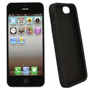 xubix iPhone 5 5G 5S Hülle Zubehör - Skin Silikon Tasche Case Schutzhülle in Silicon matt Schwarz