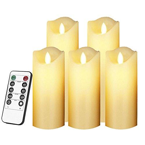 Smtyle fiamma, funzionamento a batteria-candela a colonna decorata in cera, con timer(confezione da 5)