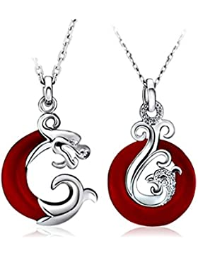 Gullei.com Partner-Halskette mit Anhänger, Drache und Phönix Sterling-Silber, Freundschafts-Halsketten-Set für 2