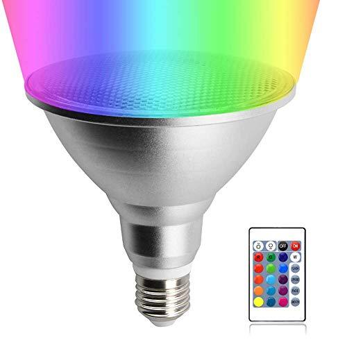 Y.W.PAR38 LED Lampe RGB 20W E27 Reflektorlampe Dimmbar Wasserdicht IP65 Spotlicht Aluminum Glühbirne Farbwechsel Beleuchtung mit Fernbedienung 120° Ausstrahlwinkel für Innen-/Außenbereich(1 Stück) -