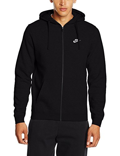 Nike Herren Unterjacke Kapuzenpullover Sweat Hoodie, Black/White, M (Nike Schwarz Herren Jacke)