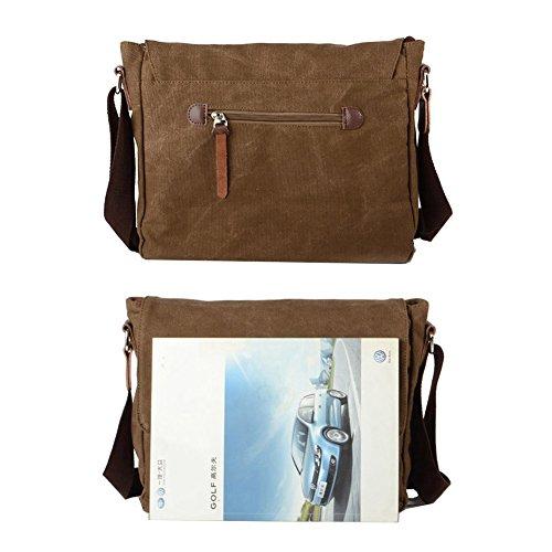 VRIKOO Retro Canvas Messenger Satchel Bag Casual School College Shoulder Bags for Men Women (Coffee) Kaffee