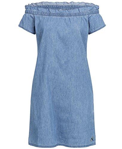 Stitch Denim Kurze (Stitch & Soul Damen Mini Jeans Kleid LSS-071 schulterfrei kurz Carmenausschnitt Rüschen middle blue L)