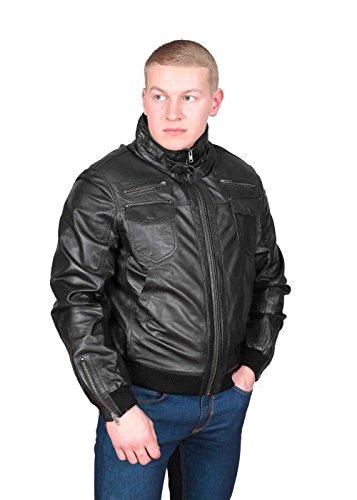 Herren Gepaßte Bomber Lederjacke Designer weiche hochwertige Mantel George Schwarz