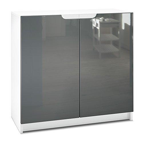 Vladon Kommode Büroschrank Aktenschrank Büromöbel Logan, Korpus in Weiß matt/Fronten in Grau Hochglanz