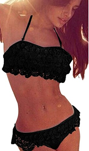 Minetom Damen Sommer Elegant Lace Bikini-Sets Strand Schwimmanzug Padded Swimsuits Neckholder Zweiteilige Push Up Badeanzug Bademode Schwarz DE 34 (Shorts Lace Crochet)