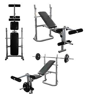 set de banc de musculation multi gym avec extension de jambe barre 1 8 m lot de 2 levage de. Black Bedroom Furniture Sets. Home Design Ideas