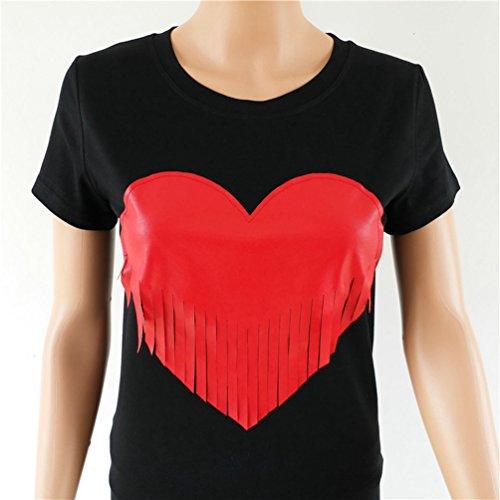 WanYang Moda Donne Amore Cuore Stampato Camicetta Maniche Corte Girocollo Nappa T-Shirt Nero 01
