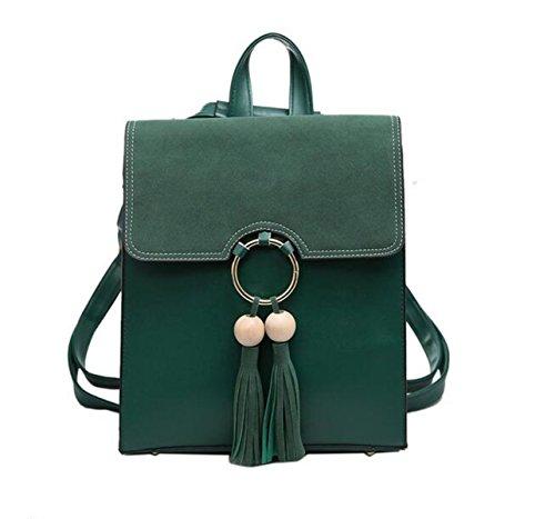 QPALZM 2017 Quaste Leder Rucksack Schulter Handtasche Stilvoll Für Frauen & Mädchen Green