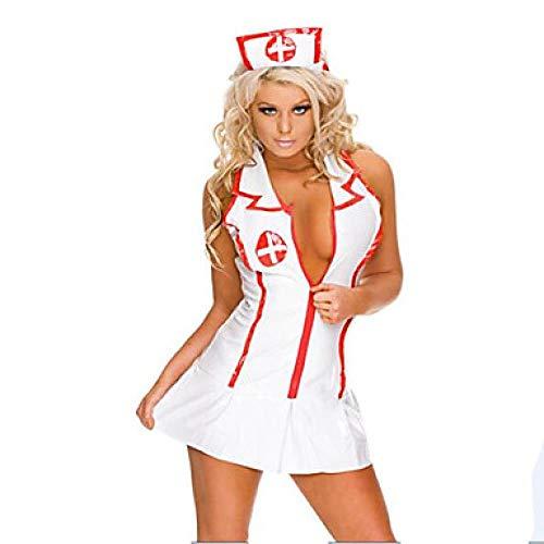 SINYUEE Frauen Career Kostüme Krankenschwester Krankenhaus Service Uniformen Sex Cosplay Kostüme Party Kostüme Farbblock Skirt Hut, Weiß,M (Sexy Krankenschwester Neckholder Kleid Kostüm)