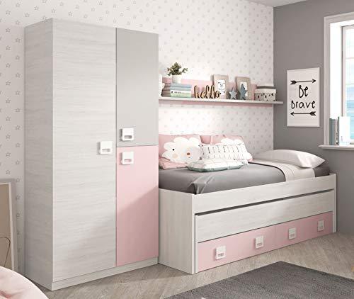 Miroytengo Pack Dormitorio Infantil Juvenil Cama Nido con Estante y Armario Color...