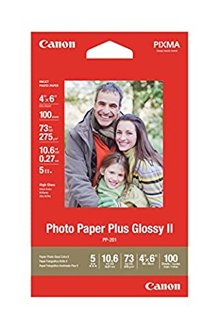 Photo Paper Plus Glossy II, 69 lbs., 4 x 6, 100 Sheets/Pack (Canon White Glossy Film)
