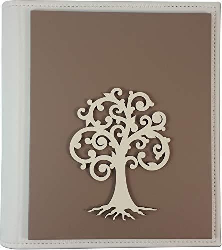 Album linea profili cm.20x25 albero della vita colore fango - avorio. bellissimo regalo con significato, scegli quello adatto alla tua occasione. made in italy