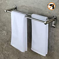 CHOELF Towel Holder 50 CM with Hooks, 8kg Max Self Adhesive Towel Rails Waterproof Stainless Steel Towel Rack Wall Mounted Shelf with Double Bar for Towels, Bathrobe, Tea Towels, in Bathroom/Kitchen