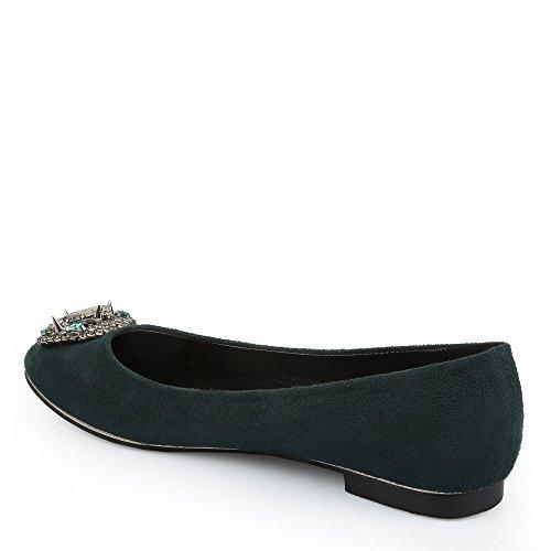 Ideal Shoes - Ballerines effet daim ornées de strass et de piques Faeme Vert