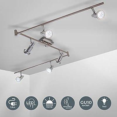 Plafoniera LED con faretti orientabili, include 6 lampadine GU10 da 5W 400Lm, luce calda 3000K lampadario moderno in metallo, lampada da soffitto per cucina o camera da letto 230V IP20