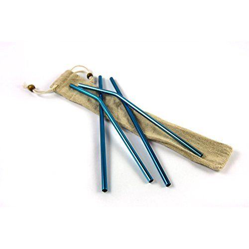 4er Pack Edelstahl-Strohhalm Set – Wiederverwendbare Trinkhalme aus Metall mit Reinigungsbürste und Beutel. Gebogen, blau