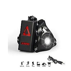 Towinle Wiederaufladbare USB Lauflicht, 3Modi Verstellbar LED Running Licht, Outdoor Brust Sport Wearable Lampe, Sicherheit- und Warnleuchte für Jogging Bergsteigen Camping