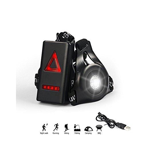 Ricaricabile USB Corsa Luce, 3 Modalità Regolabile LED Running luce, outdoor Seno Sport Wearable Lampada, Sicurezza e Avvertimento Lampada per Jogging Alpinismo Camping