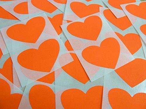 50x37mm Fluorescente Rojo Llama Con Forma De Corazón Etiquetas, 40 auta-Adhesivo Código De Color Adhesivos, adhesivo Corazones para Manualidades y Decoración