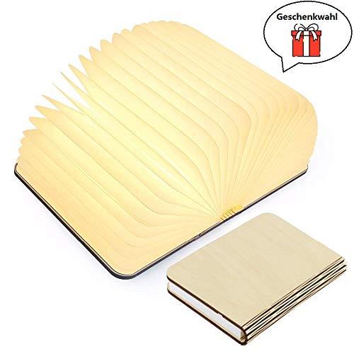 Yuanj Hölzerne faltende Buch-Lampe - magnetisches LED-Licht -dekorative Lichter, Schreibtisch-Lampe mit Akku 2500 mAh - warmes licht-hell genug für das Ablesen - Ideal für Geschenk (Lampe Hölzerne)
