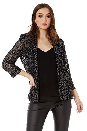 Roman Originals Damen Spitzen-Jacke - Abend-Mantel, zum Ausgehen, figurbetont, klassisch, mit 3/4-Ärmeln - Silber - Größe 46
