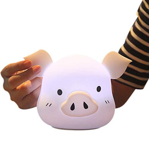 Missley Silicone LED Porc Lumière Mignonne Porc Tête Nuit Lumière USB 7 couleurs Table Lampe Doux Décoratif Lumière Meilleur Fête Atmosphère Lampe