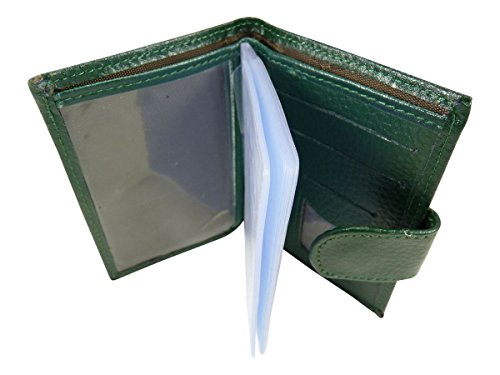 Kreditkartenhalter auch geeignet für Visitenkarten mit Taschen laminiert 24CB Leder Grün - Grün