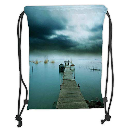 GONIESA Drawstring Sack Backpacks Bags,Landscape,Stormy Night Sky Over Lake Port Wooden Jetty Misty Evening View,Dark Teal Ivory Dark Blue Soft Satin,5 Liter Capacity,Adjustable String Closure, -