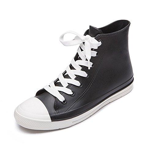 DKSUKO Damen Gummistiefel Verstellbare Schnürschuhe Wellies, Black And White, Gr.- 38 EU Black Non Slip