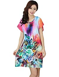 JTC Ladies Flower Printed Cotton Round Neck Summer Short Nightdress  Multicolour d00b3fe60