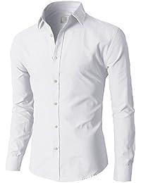 SODIAL (R) Moda Hombres con estilo de lujo de ropa informal del ajustado Camisetas Casual manga larga 17 ( Blanco )- M