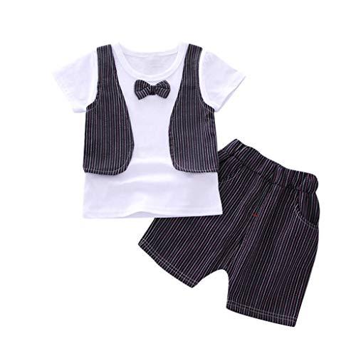 Bekleidungsset Baby Junge Sommer Kurzarmhemd mit Fliege + Shorts mit Hosenträger Baby Anzug Kinderbekleidung Sommer Kleidungs Outfits für Alter 0-5 Jahre alt Pwtchenty
