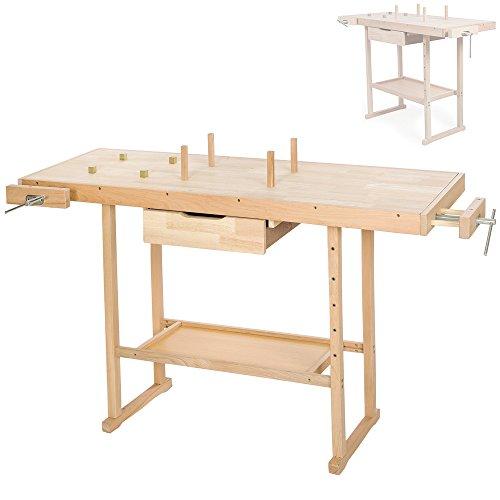 TecTake Werkbank Schraubstock Holzbearbeitung erhältlich in verschiedenen Größen-(137x 50x 87cm (no. 401451))