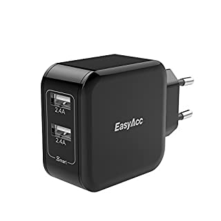 EasyAcc USB Ladegerät Netzteil 24W 2-Port Ladeadapter für Samsung S7 S8 S6 A5, iPhone 8 X 7 SE 6s 6 Plus iPad und mehr, Schwarz