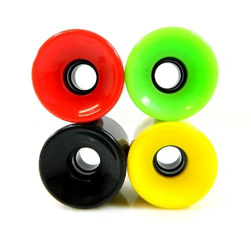 Blank Wheels 70 mm Pro Longboard Skateboard Rollen Solid Gel Farben, Solid Rasta