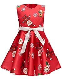Niña bebé Vestido 1-7 años,Vestido de Niña pequeño Invierno Vestido de Princesa impresión de Santa Ropa de Navidad Manga Larga Suelto Ropa de Niña Casual Elegante Yesmile