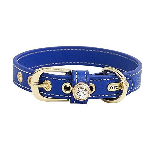 LANA Einstellbare Premium Leder Hund Katze Kragen, Coole Hundehalsband, weich mit Didmond und Schnalle für Welpen Katze (Size : XXS) -