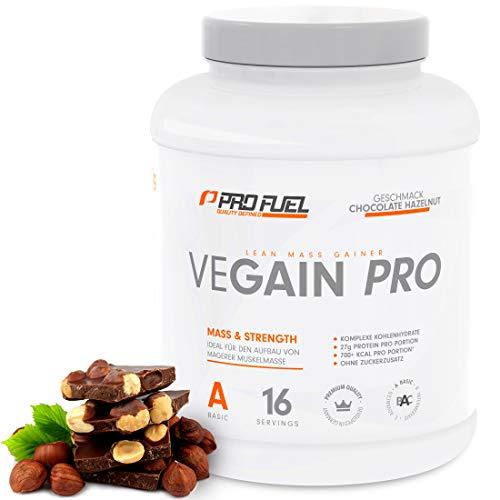 VEGAIN PRO | Weight & Mass Gainer | 100% Vegan | Für Masseaufbau oder bei Untergewicht | Sehr lecker | Ohne Maltodextrin und zugesetzten Zucker | Made in Germany | 2,2 kg - (CHOCOLATE HAZELNUT) -