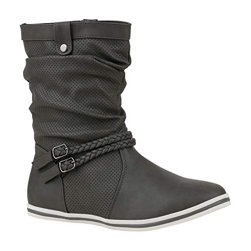 Damen Schlupfstiefel Sportliche Stiefel Leder-Optik Boots Schnalle 172605 Grau Berkley 38 Flandell