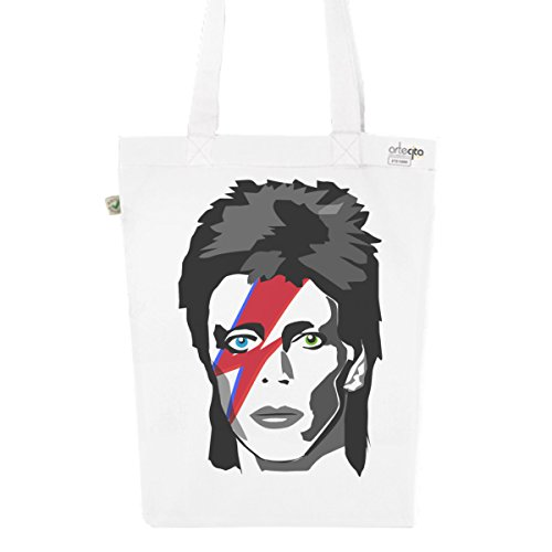 Tote Bag Blanc Imprimé - Toile en Coton Bio - David Bowie Major Tom