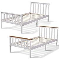 AVC Designs Single Pine Bed Frame 3ft White Wooden Shaker Style Bedroom Furniture (White/Oak)