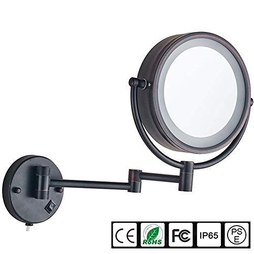DFAXX Schlafzimmerleuchten Wandhalterung Schminkspiegel mit LED beleuchtet 10-fache Vergrößerung Doppelseitig, 8,5 Zoll, Bad und Hotel, verchromt, aus Messing (Farbe : ORB, größe : 7X Magnification) -