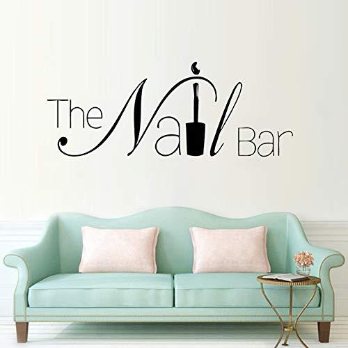 Die Nagel Bar Logo Fenster Aufkleber Maniküre Aufkleber Design Abnehmbare Nagel Wandaufkleber Salon Sticker57 * 22 CM (Nagel-designs 3d Halloween)